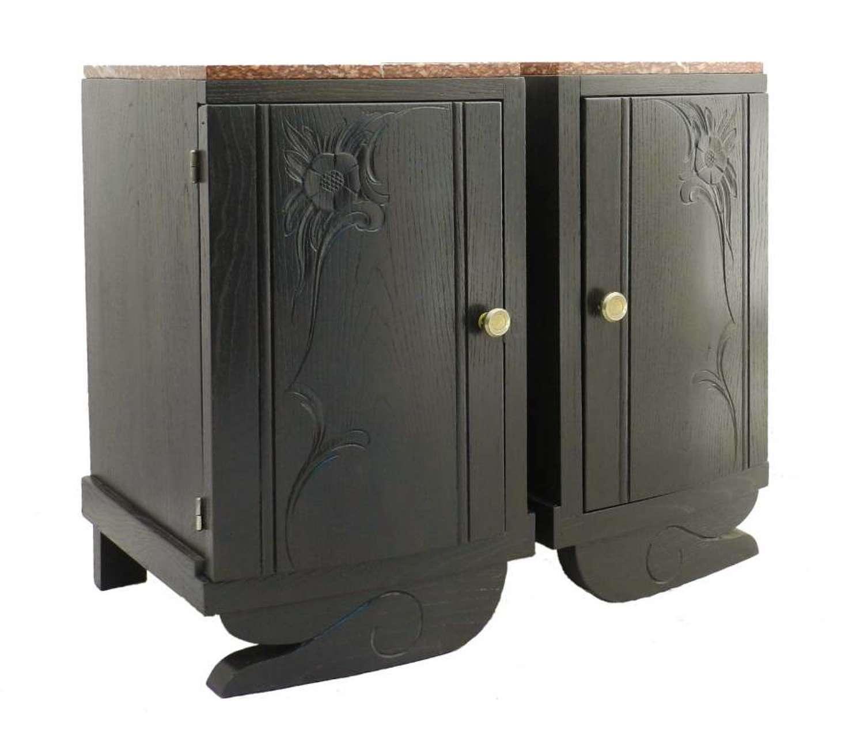 Pair Art Deco Bedside Cabinets Nightstands