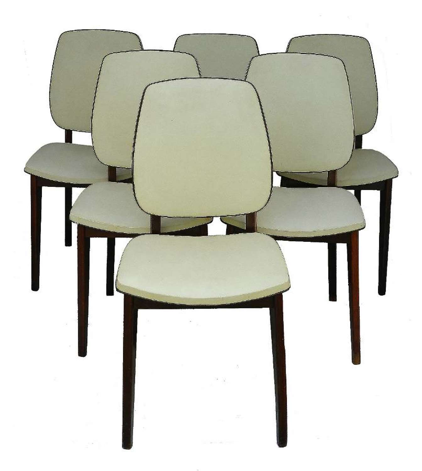 Six Mid-Century Dining Chairs French Original Covers, 1960-1970