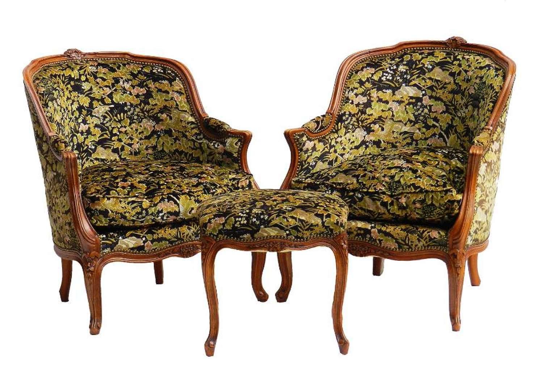 Pair Louis style Armchairs & Stool Ottoman