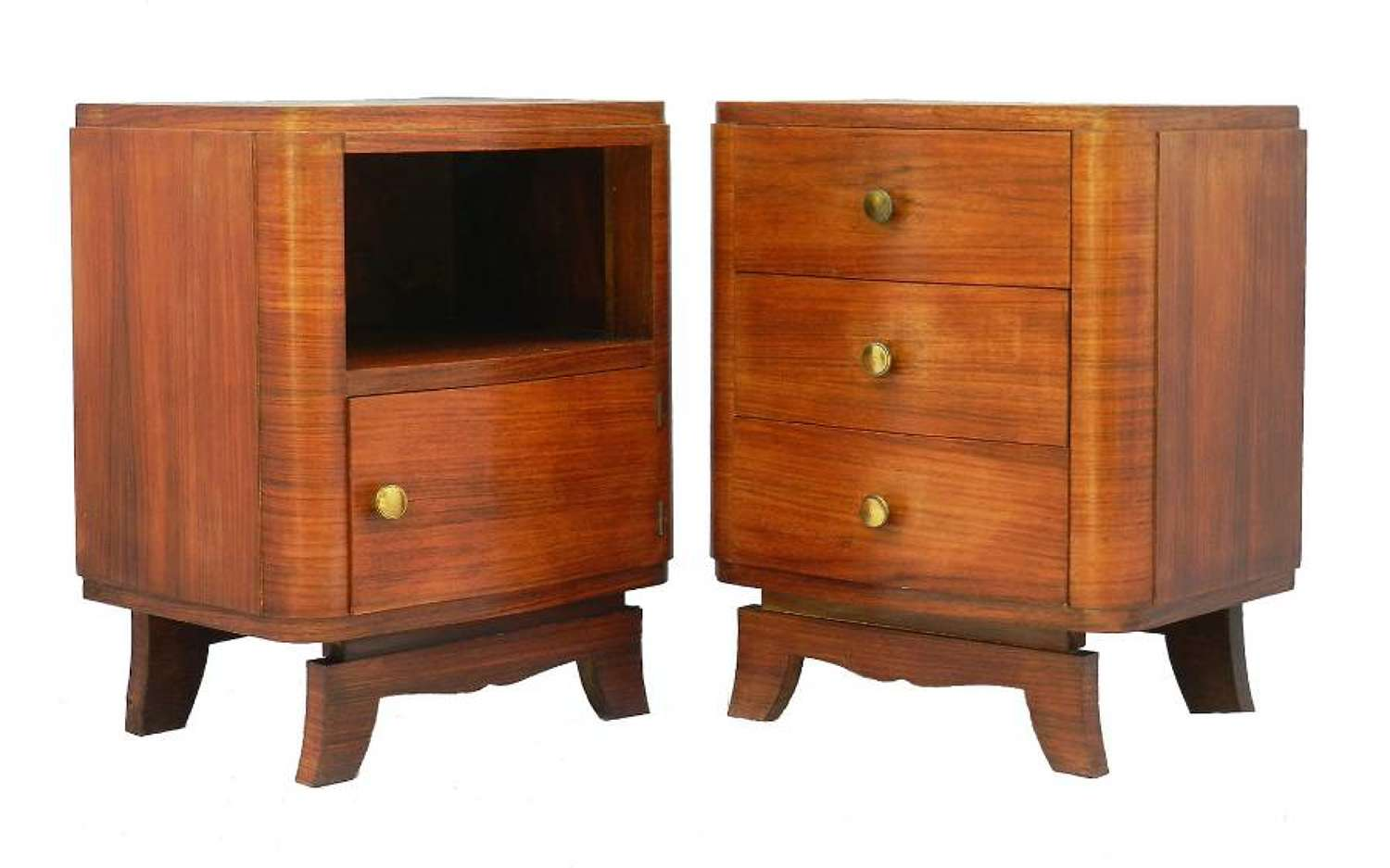 Pair Art Deco Bedside Tables Nightstands French Side Cabinets c1930