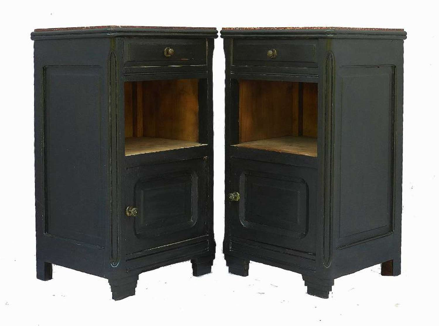 Pair Art Deco Bedside Tables Nightstand Ebonised Side Cabinets