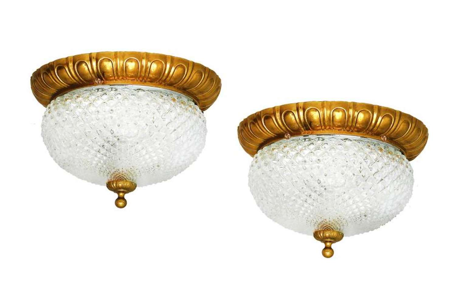 Pair of Flush Mount Ceiling or Wall Lights France Mid Century c1950