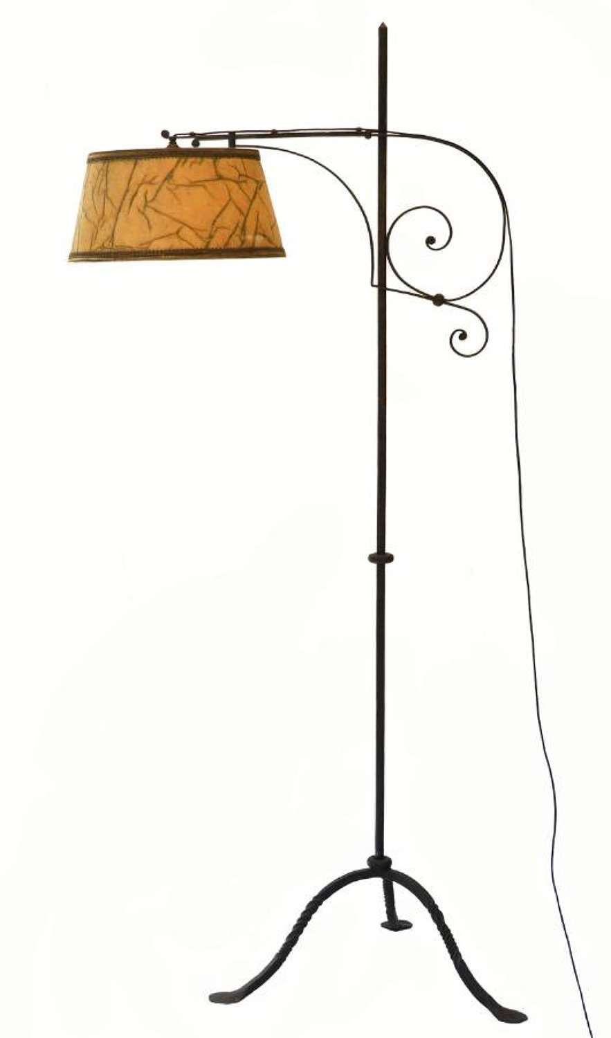 Arts & Crafts Floor Lamp Adjustable Wrought Iron French, circa 1910