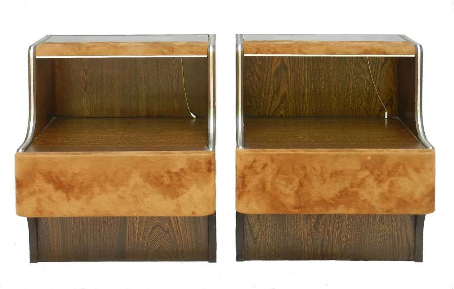 Pair Mid-Century Nightstands Side Cabinets Bedside Tables with Lights Suede