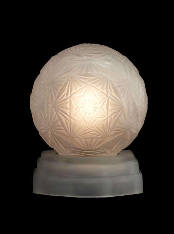 Art Deco Lamp Glass Globe Signed Sonover Night Light