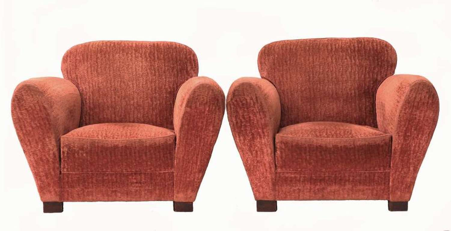 Pair of Art Deco French Club Chairs Original Armchairs