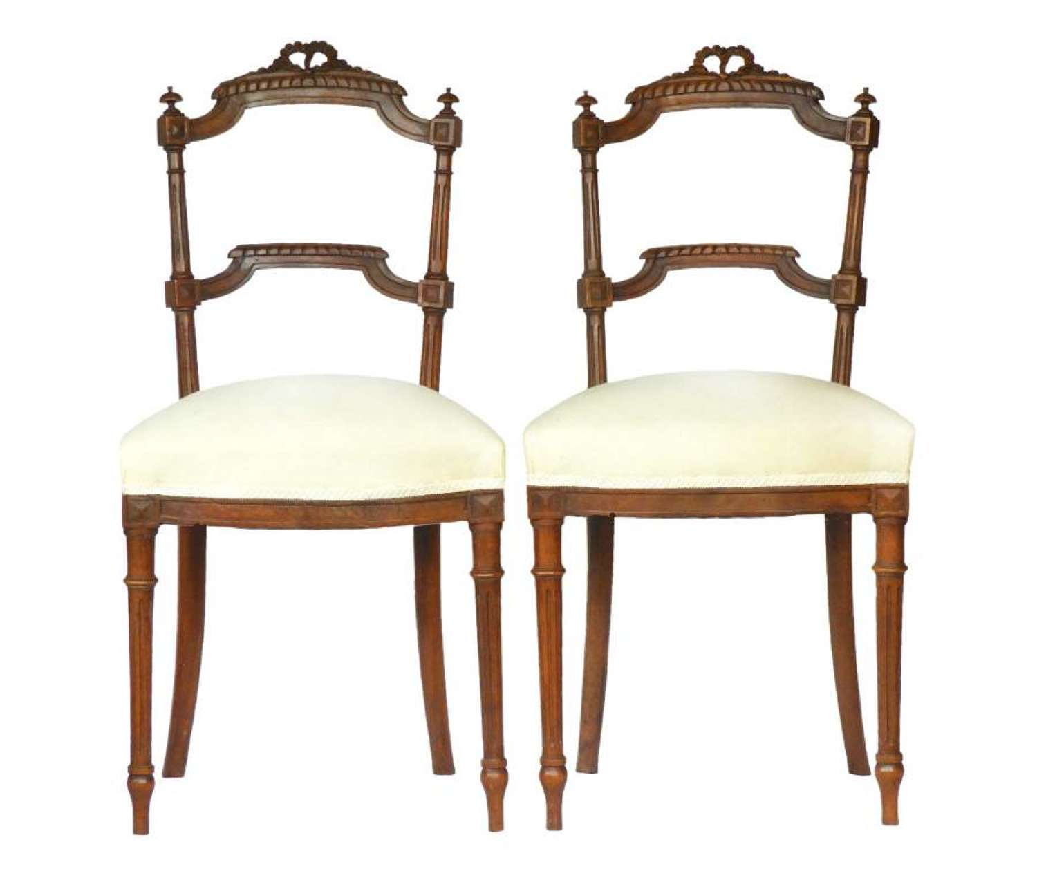 Pair French Side Chairs Louis XVI upholstered ready for top covers