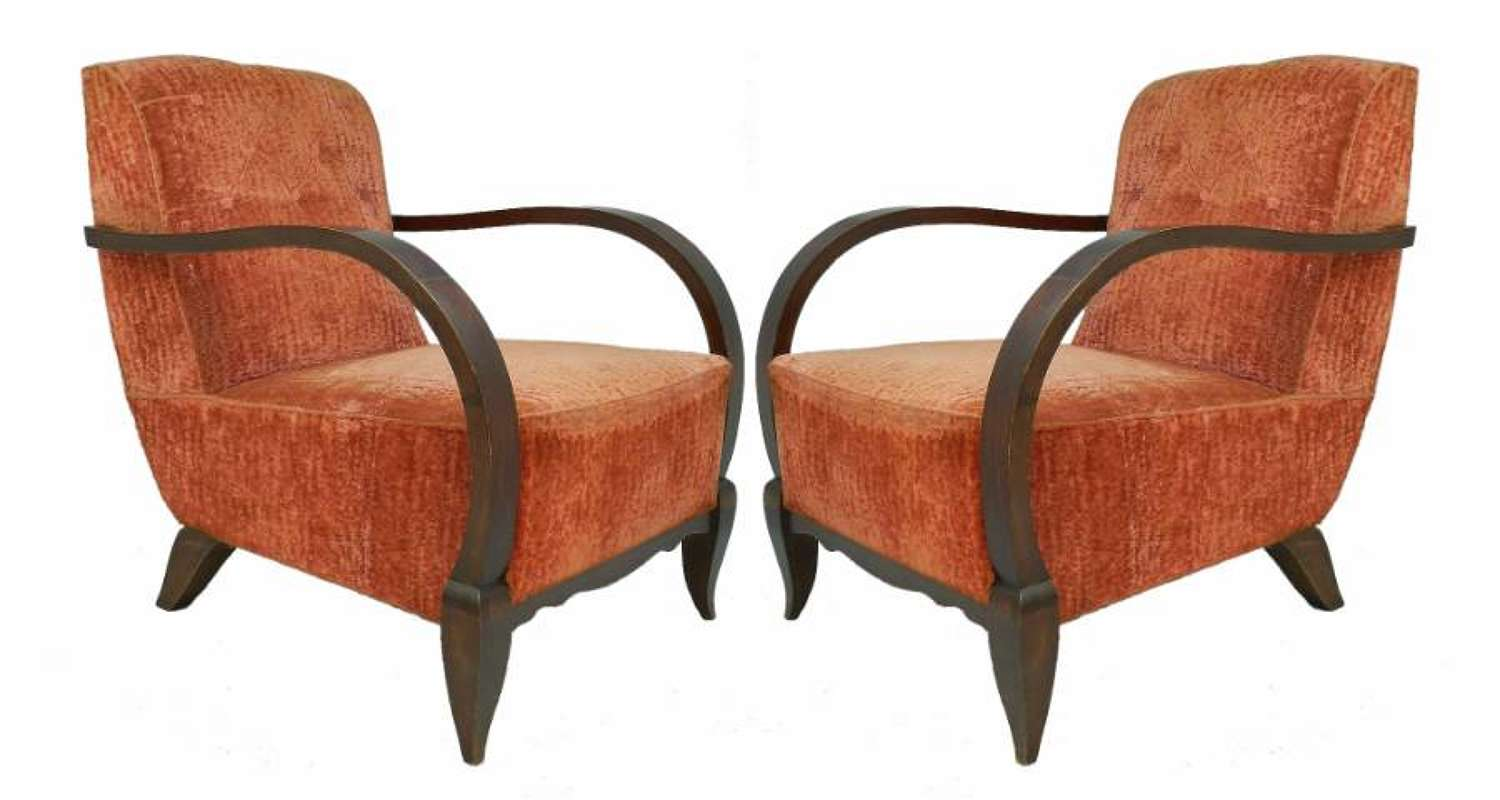 Pair Art Deco Armchairs Open French Club Chairs