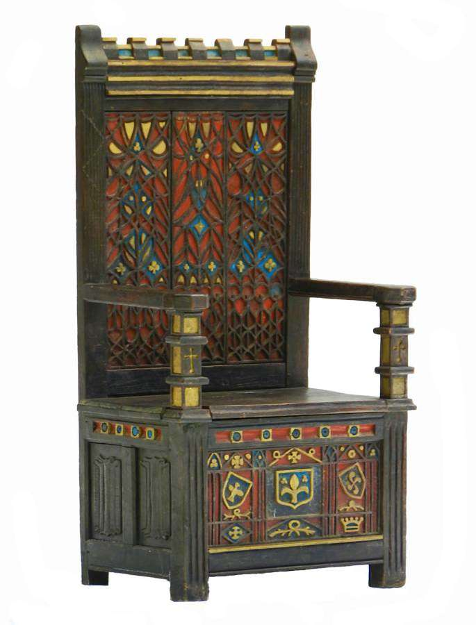 Arts & Crafts Throne Chair Polychrome Monks Bench Settle Ottoman Gothic Revival