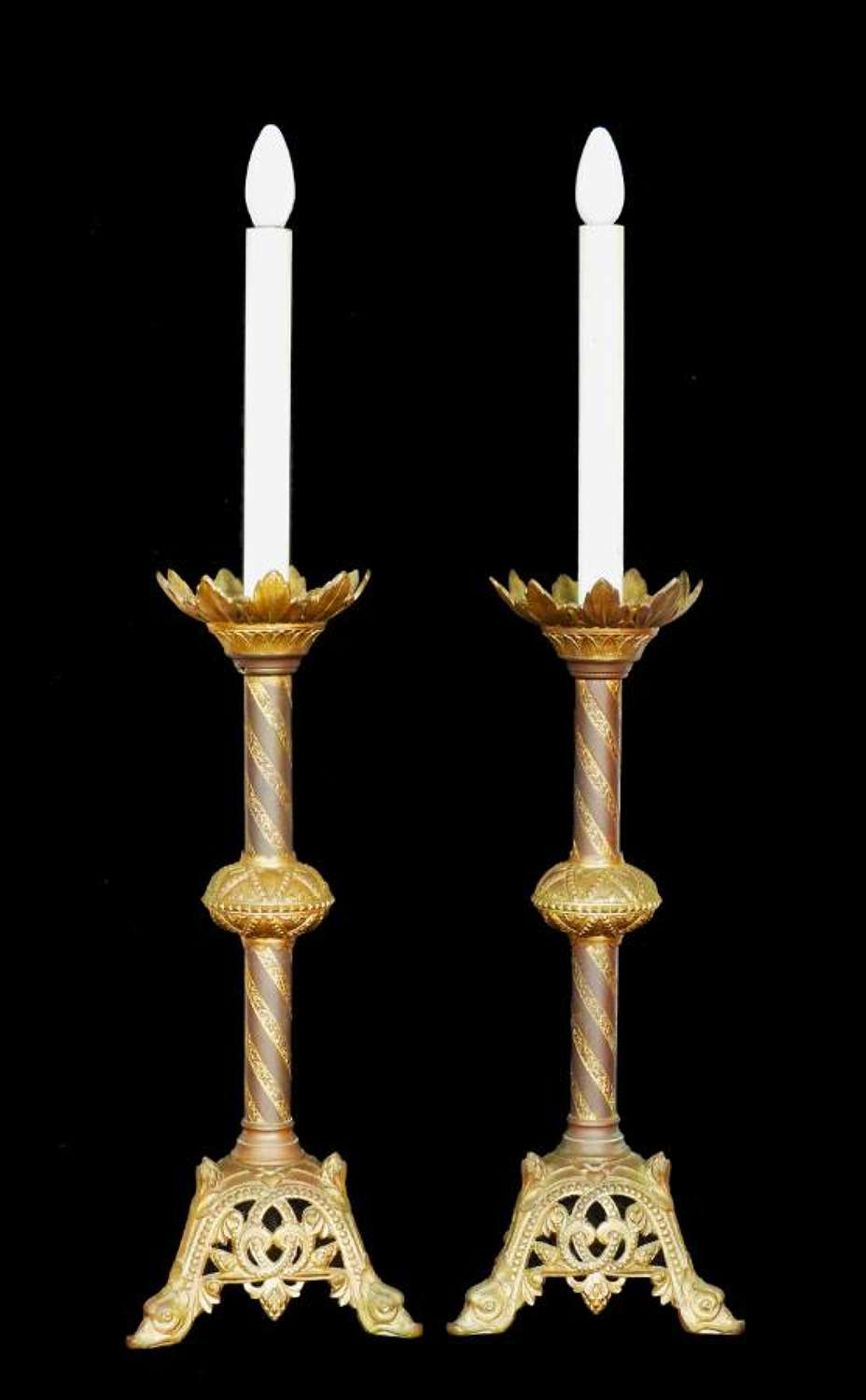Pair of Candlestick Lamps Bronze French Church Gothic Revival c1850