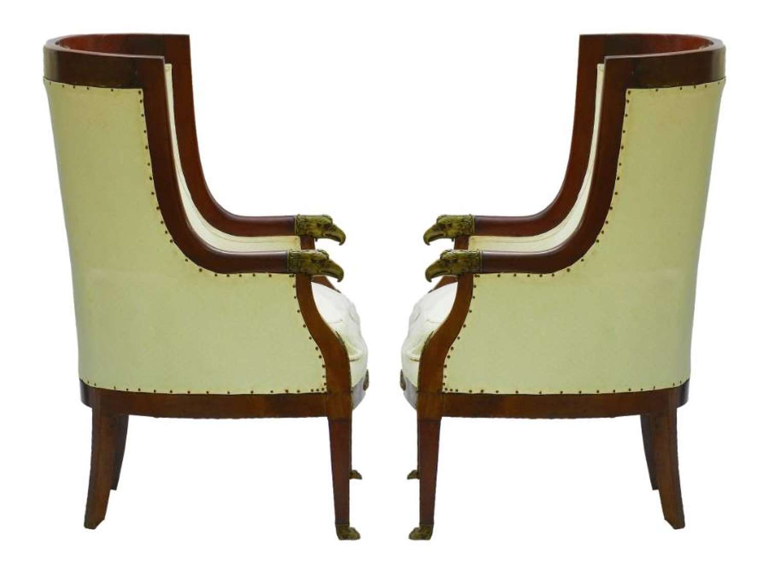 Pair Bergere Armchairs French Empire revival Barrel Chairs Eagle Head Paw Feet