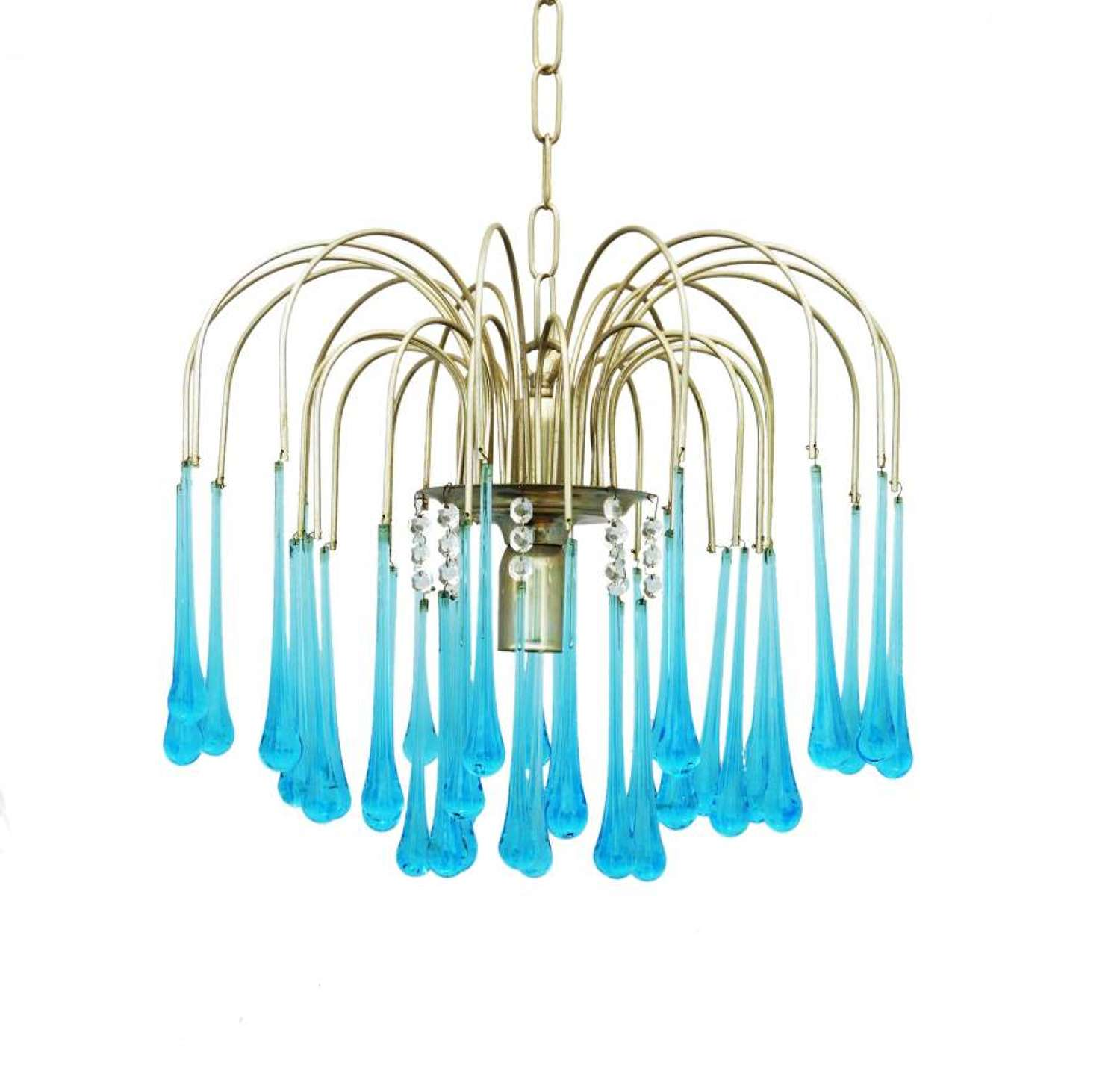 Mid-Century Chandelier by Paolo Venini Crystal Drops