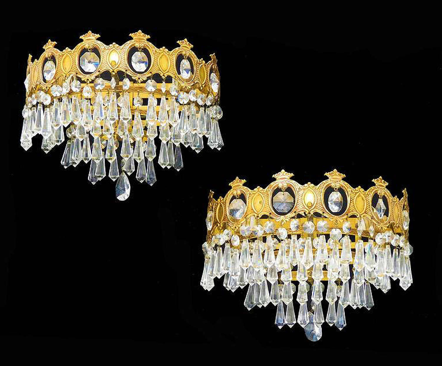 Pair of Wall Lights Three-Tiered Half Crown Sconces