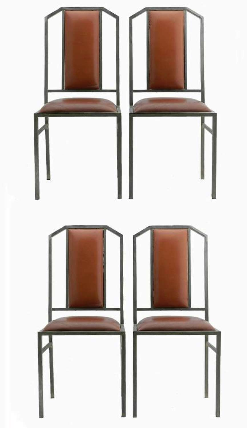 Four Maison Jansen Dining Chairs Leather Brushed Metal French c 1970