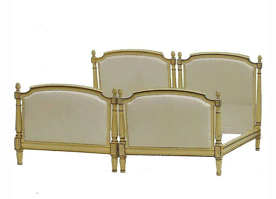 Pair of French Single Beds Twin Original Paint, circa 1910 Louis XVI R