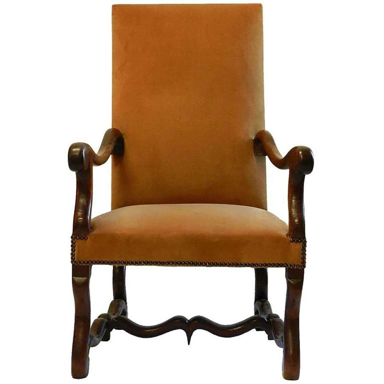 19th Century French Os de Mouton Armchair Throne Chair Louis XIII