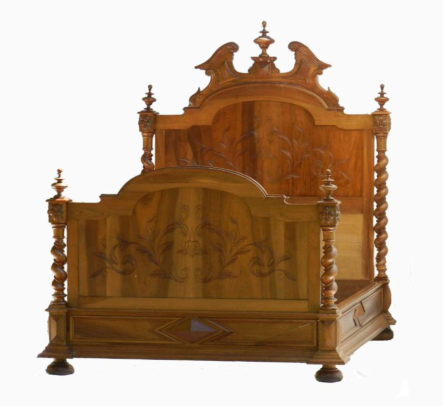 French Double Bed + Base 19th Century Louis