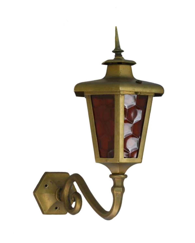 Brass Outdoor Lantern Porch Light Exterior Applique Sconce