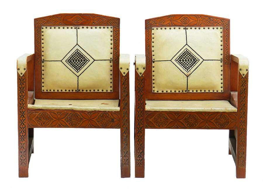 Pair Art Deco Armchairs Moorish Leather Rare Campaign Chairs