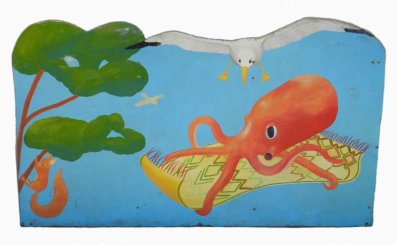 Naive Folk Art Painting Wall Panel Childrens Bed Head Fun Fair