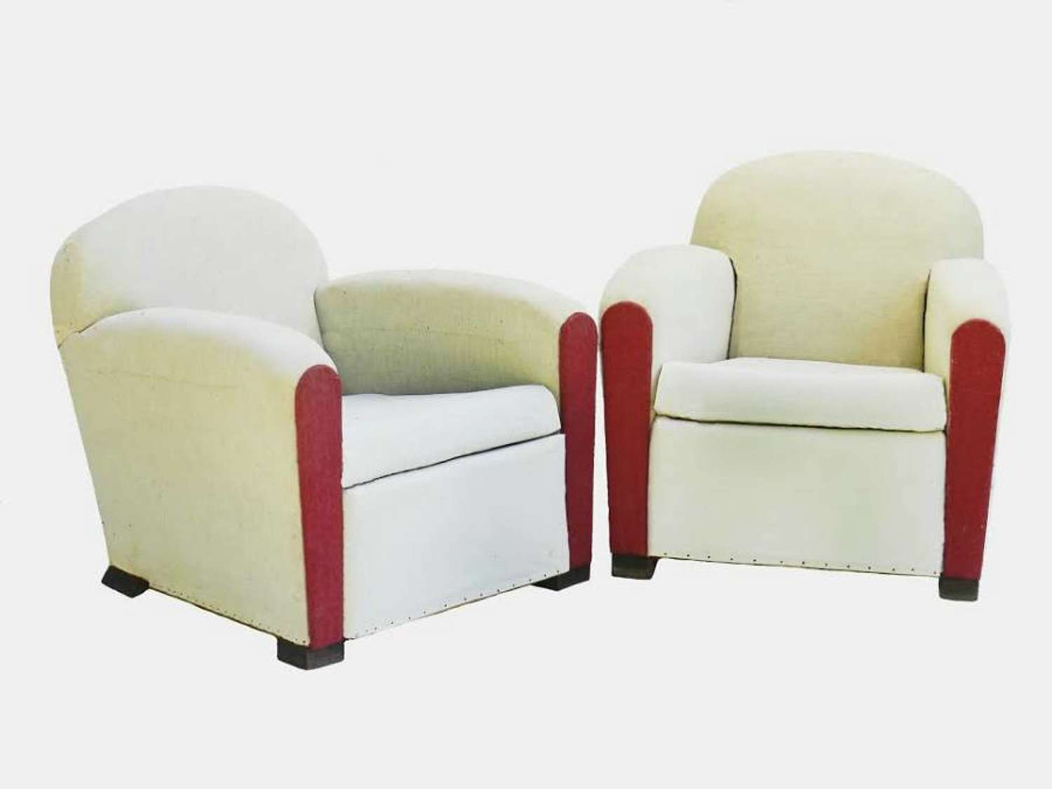 Pair Art Deco Club Chairs French Armchairs ready for top covers