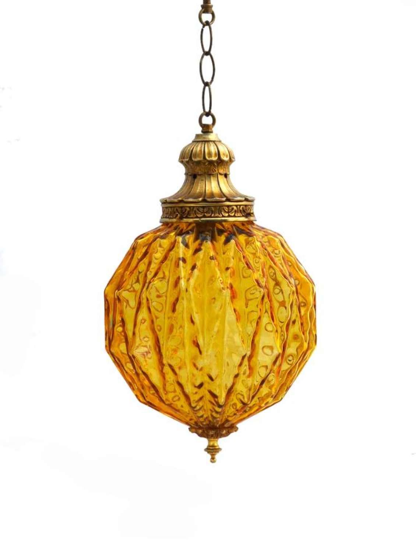 Mid-Century Globe Pendant Light Amber Glass Moorish
