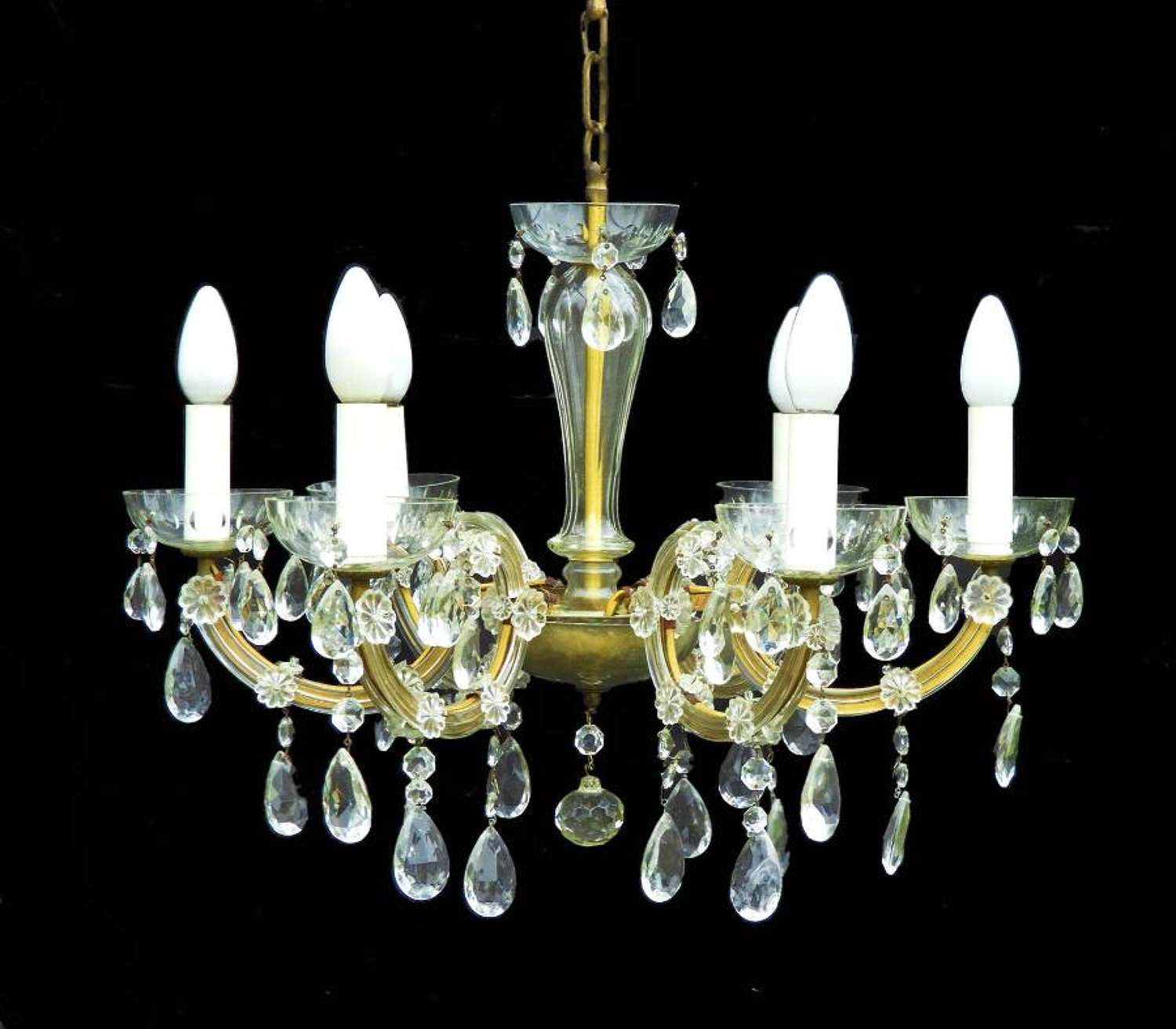 French Antique 6 Arm Chandelier Faceted Drops