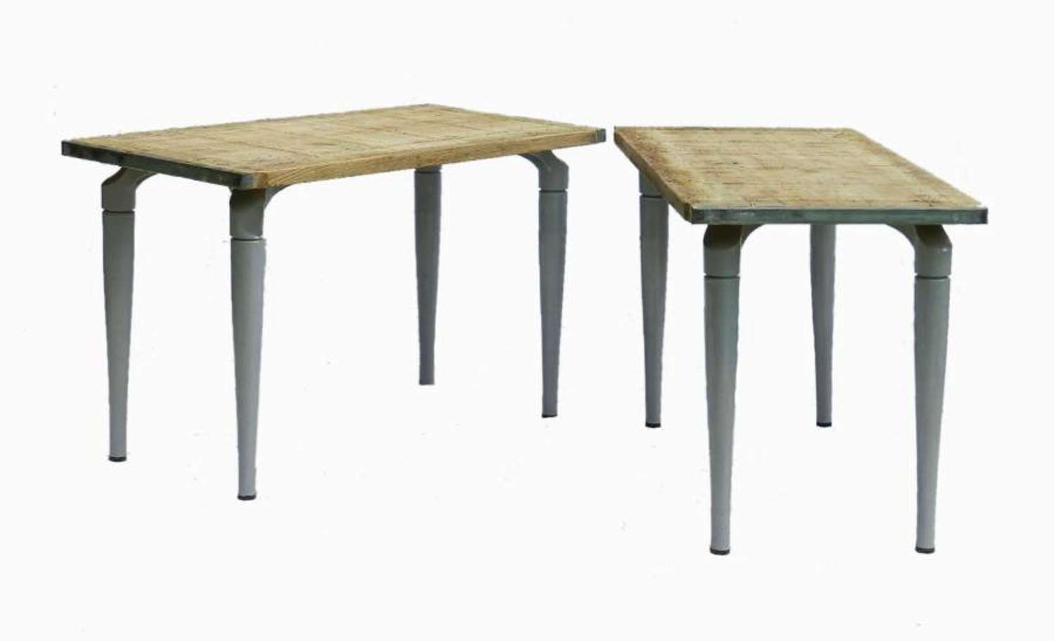 Two  Side Tables French Industrial Pair Console Loft Kitchen
