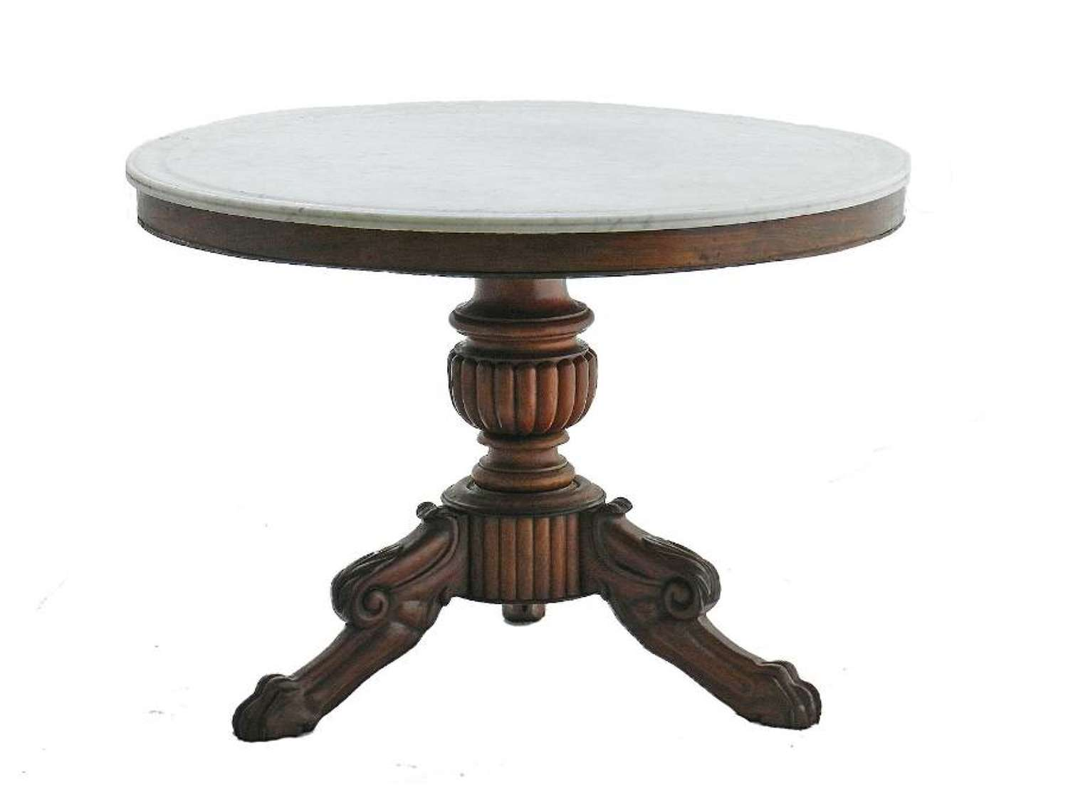 French Gueridon Table Marble Top 19th Century
