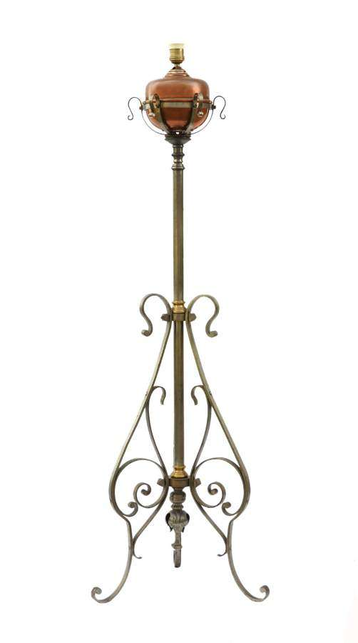 Floor Lamp Arts and Crafts Adjustable Telescopic Wrought Iron