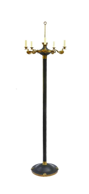 French Floor Lamp Empire Revival Ormolu Swan Neck Standard Lamp
