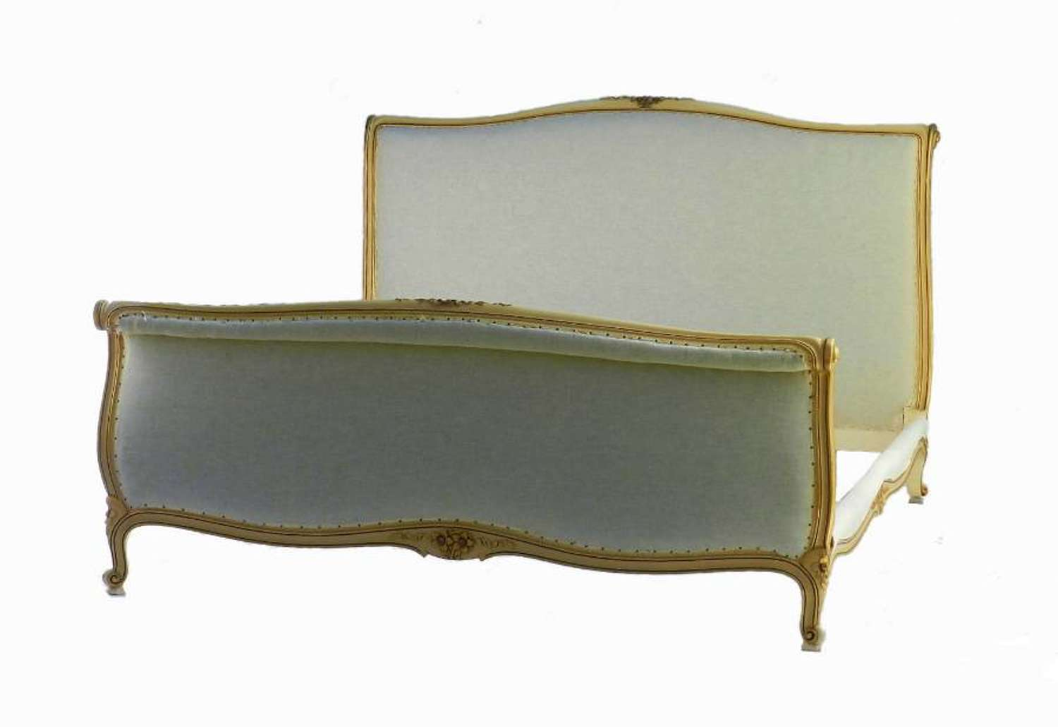 French Bed US Queen UK King Size Ready for Top Covers Scroll, circa 1920