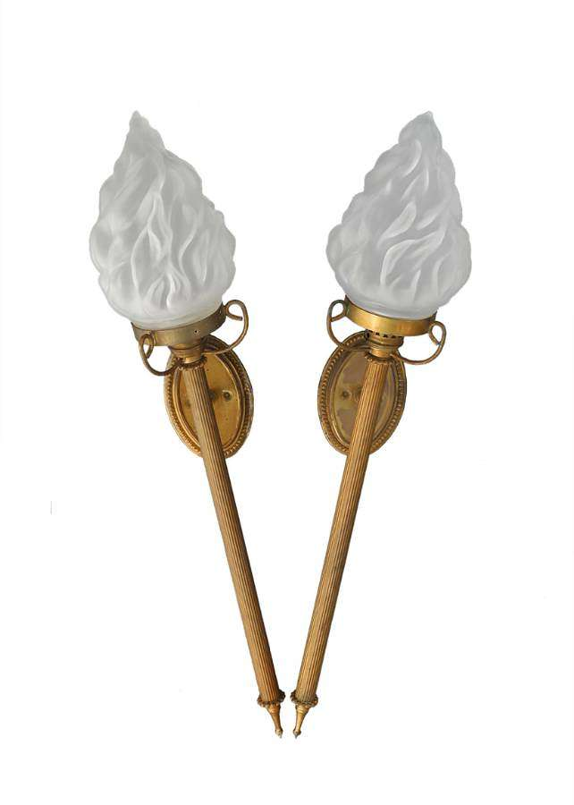 Pair of Wall Lights French Torchere Sconces Flame Glass Shades