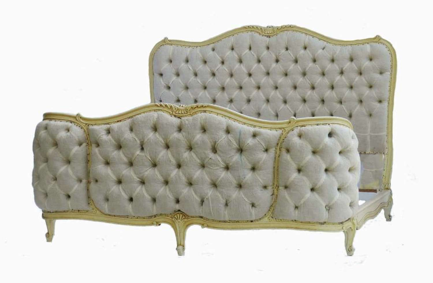 French Bed + Base UK King size US Queen Corbeille Button Back ready for top covers