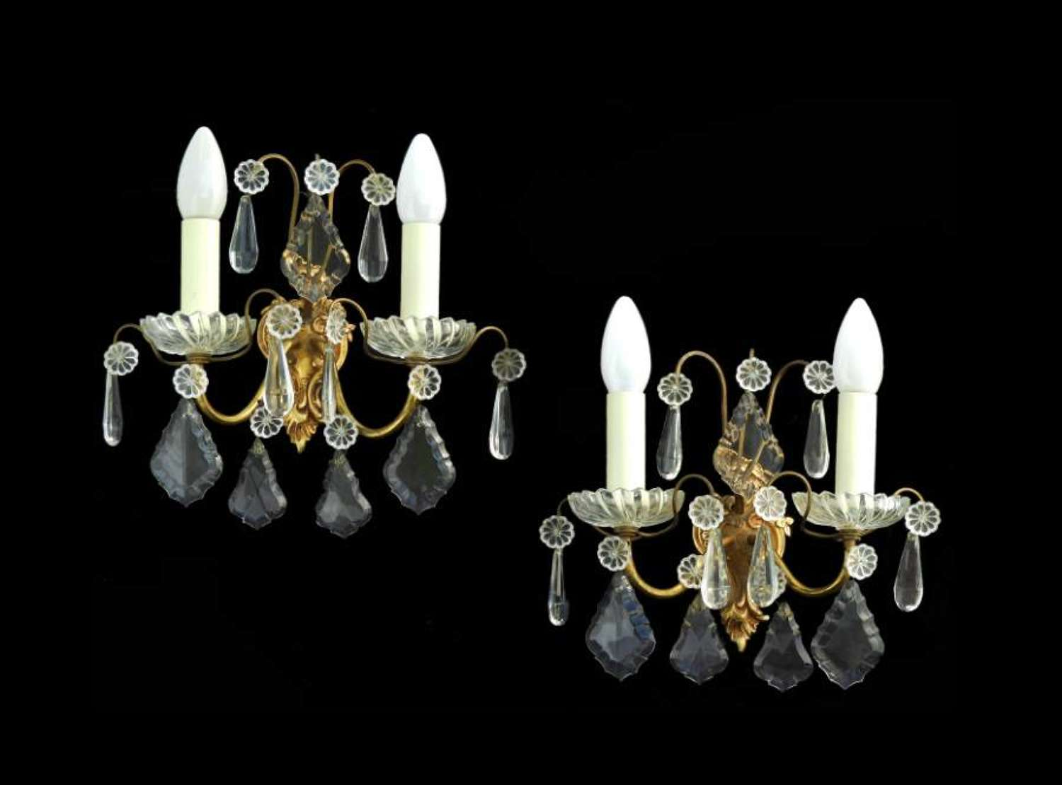 French Pair of Wall Lights Cut Drop Sconces