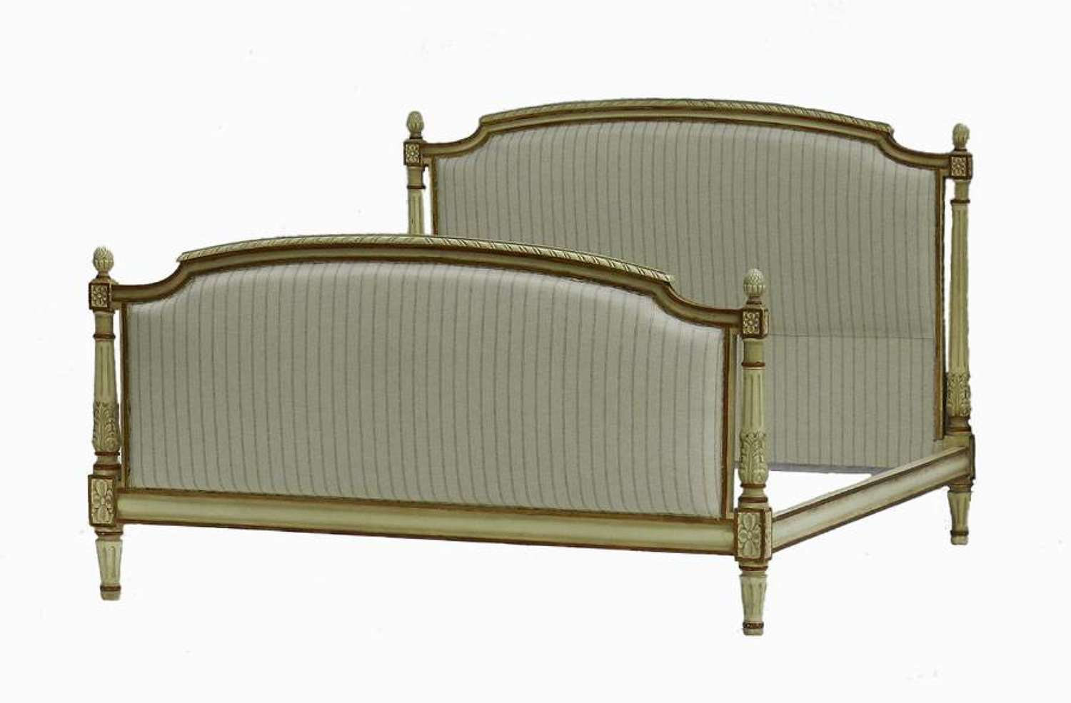 French Bed + Base Newly Upholstered Large Double or UK King US Queen original paint