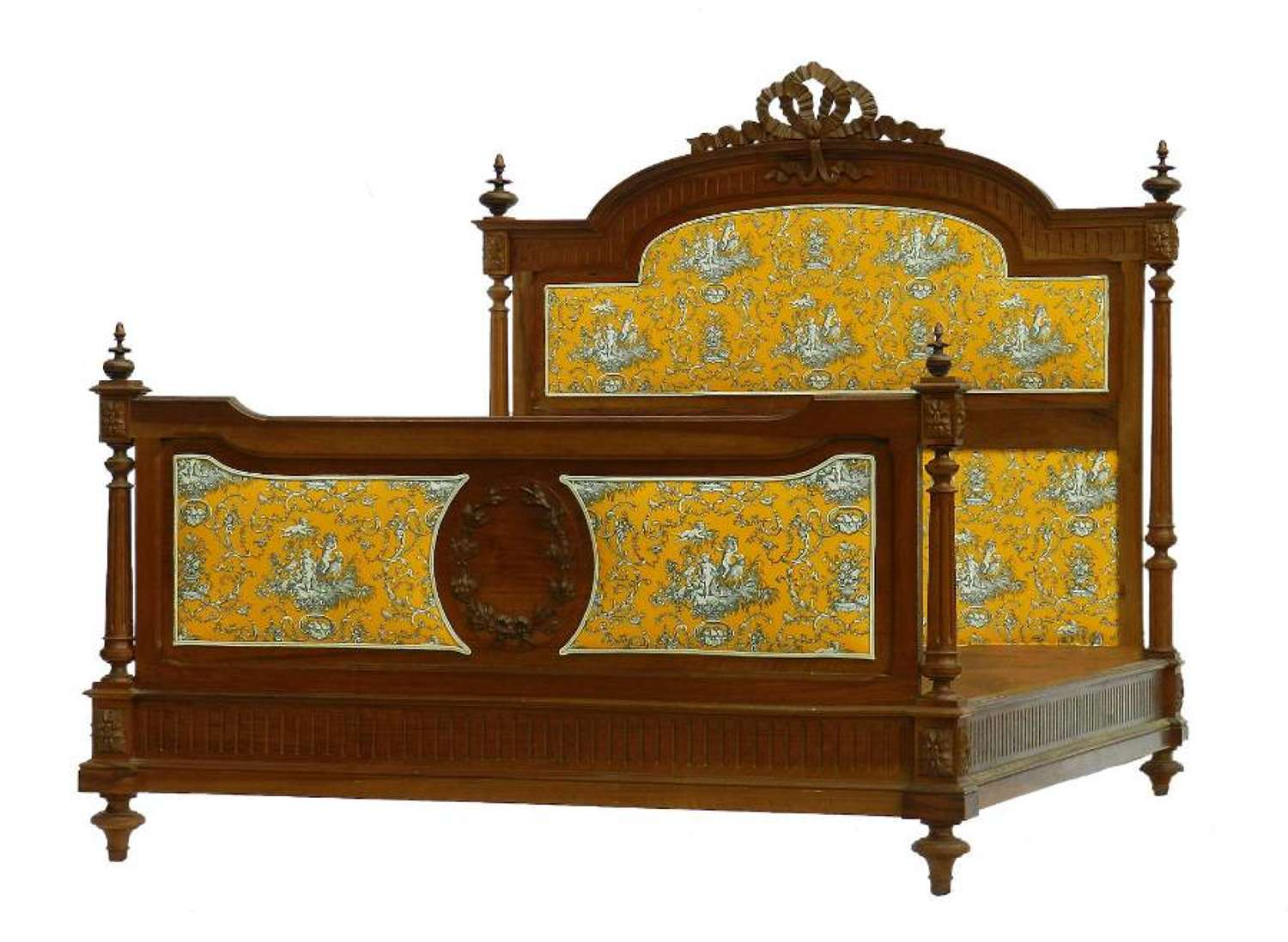 French Bed + Base UK King size US Queen 19th Century Louis can change covers if required