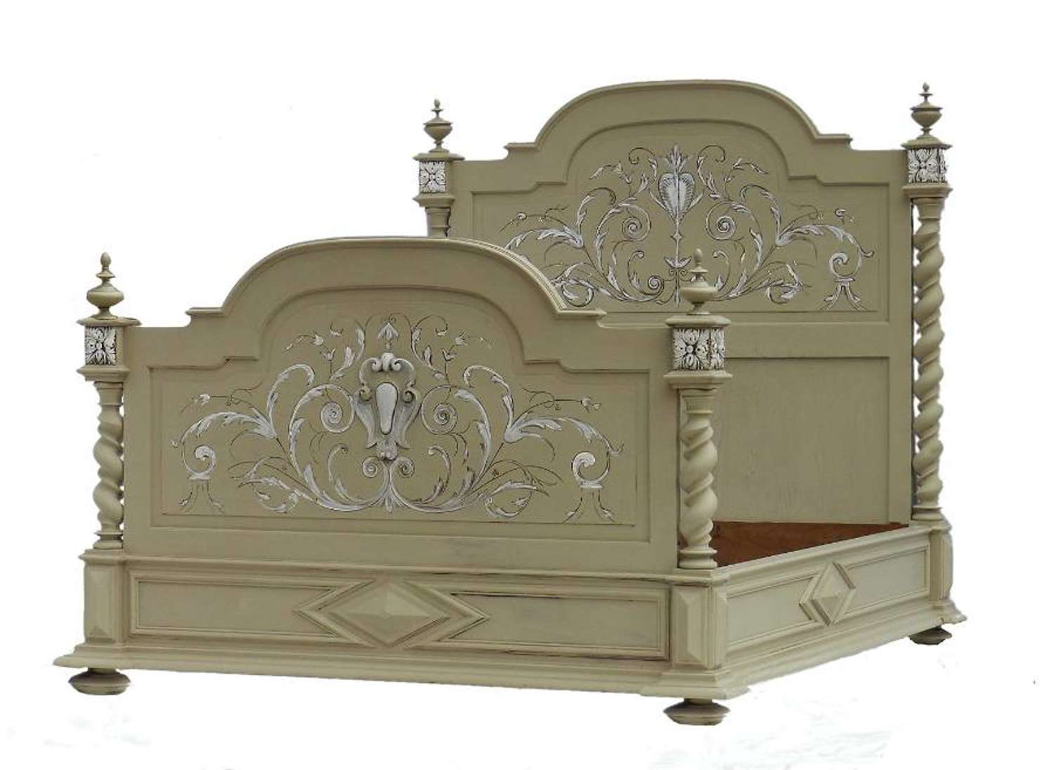 French Bed + Base UK King size US Queen 19th Century painted Louis