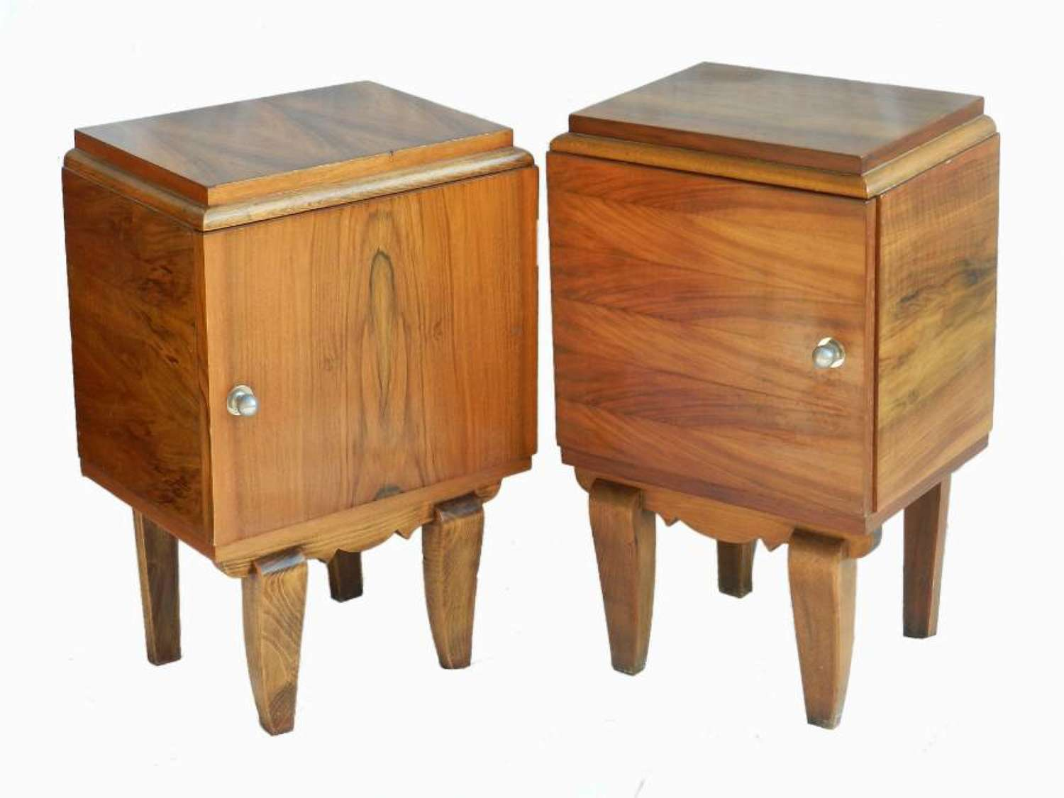 Two Art Deco Mid-Century Side Cabinets Pair of Nightstands Bedside Tables Walnut