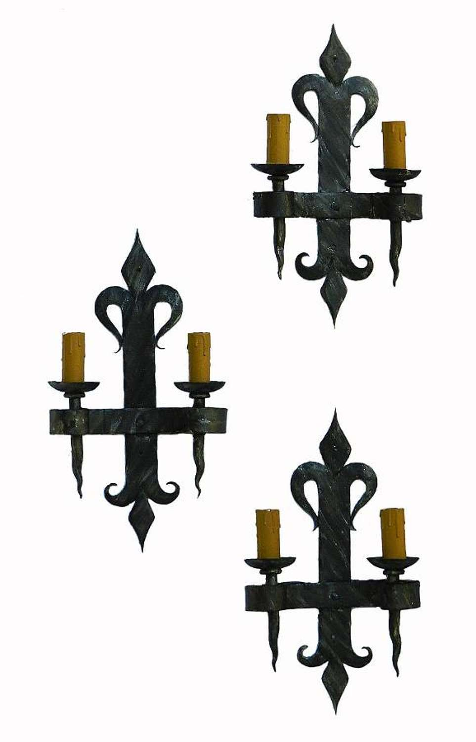 3 Arts & Crafts Wall Lights Sconces Wrought Iron French Artisan made Fleur de Lys