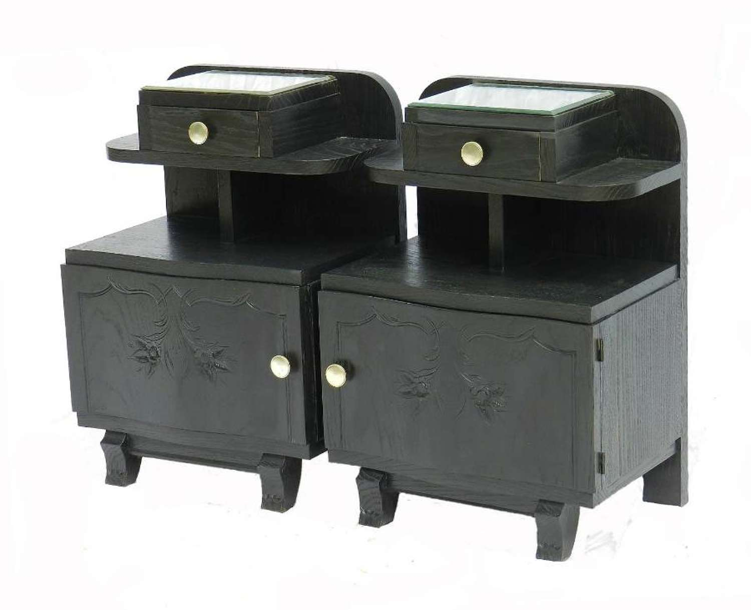 Pair Art Deco Side Cabinets Ebonised Bedside Tables Nightstand