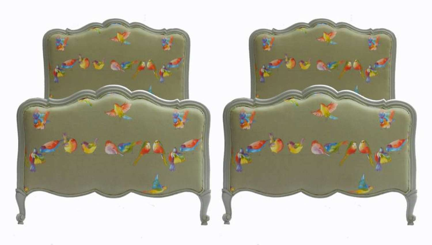 Early 20th Century Pair of French Twin Beds + Bases Single Upholstered Louis