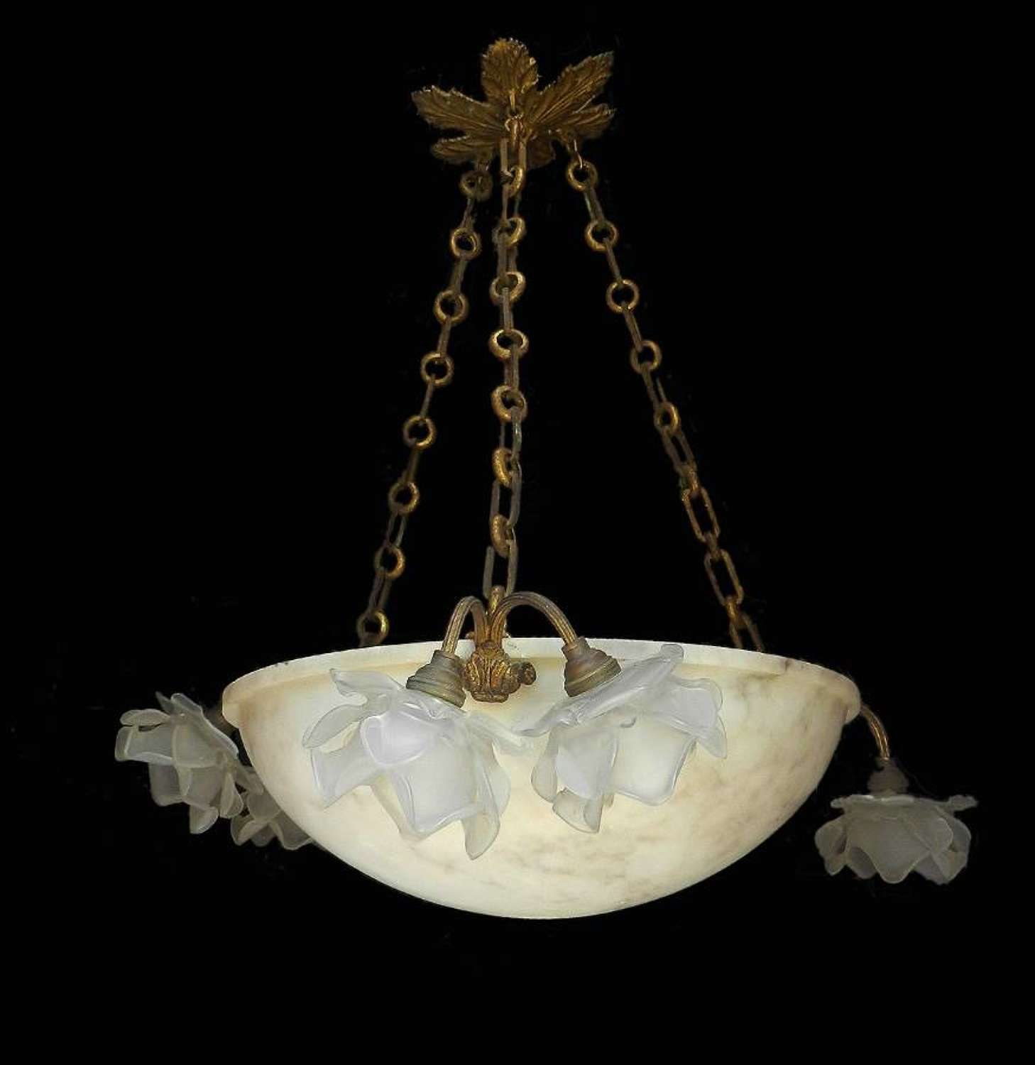 French Chandelier Belle Epoque Alabaster and Glass