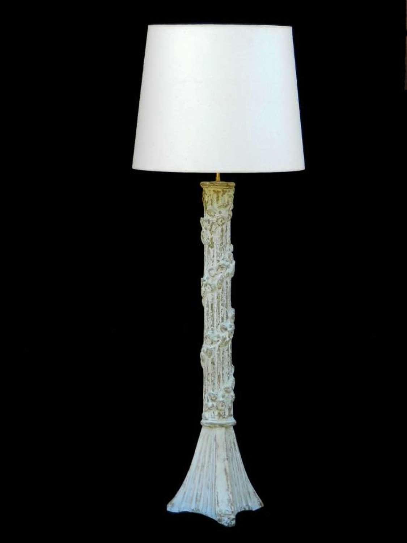 Unusual diminutive French Floor Lamp or Table Lamp C1900 Torchere original paint Column