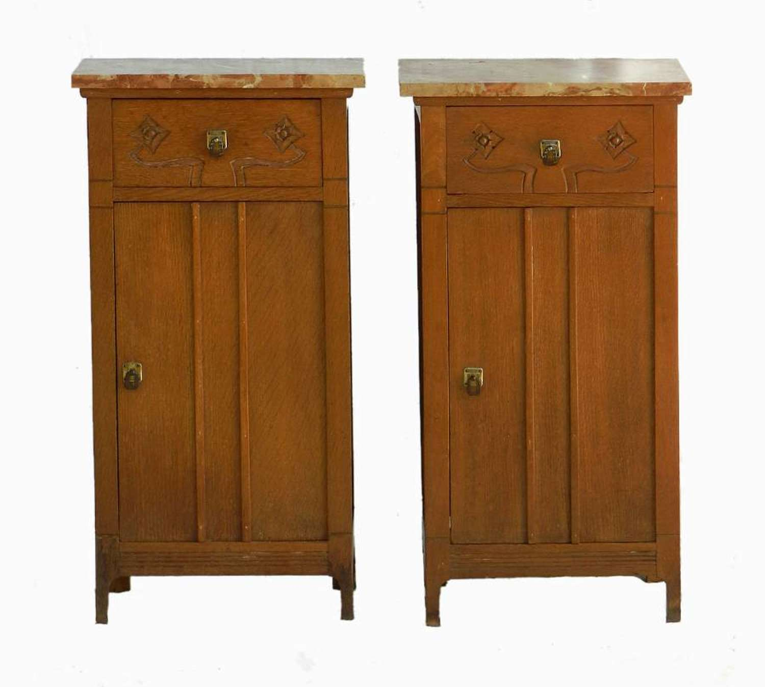 Pair Arts & Crafts Side Cabinets Nightstands Bedside Tables