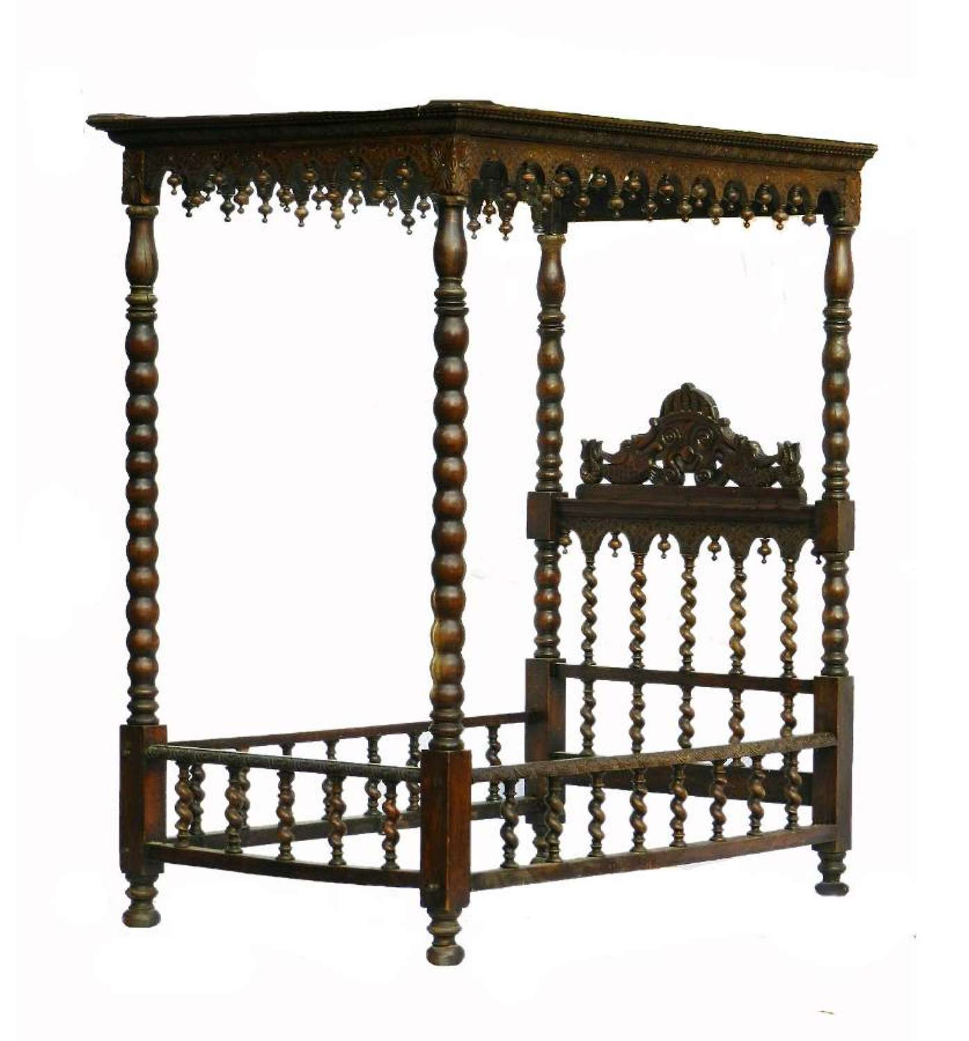 C19 Four Poster Bed Colonial Portuguese Single Daybed