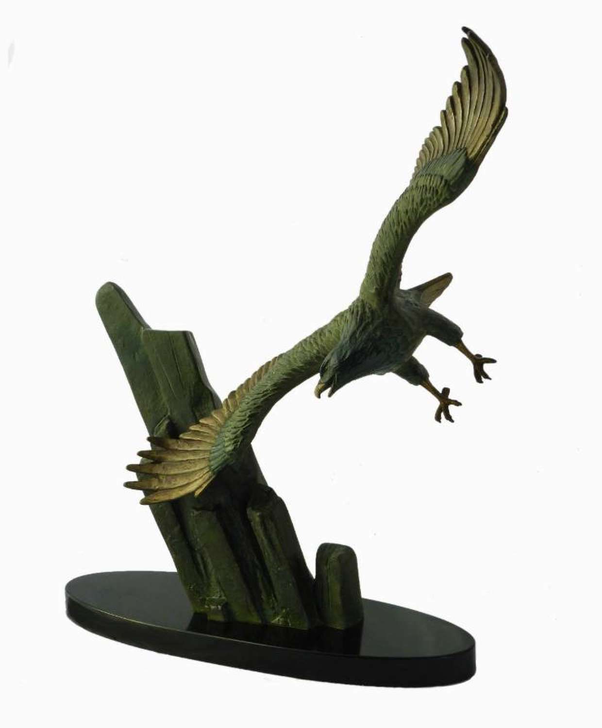 Art Deco Eagle in Flight by Rulas Signed Sculpture Statue on Marble Ba