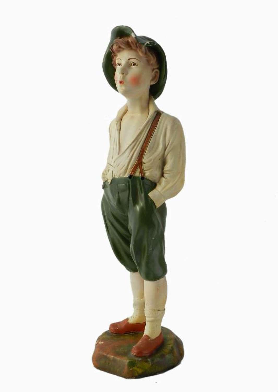 Art Deco Statue Whistling Boy Chalk ware Plaster original paint
