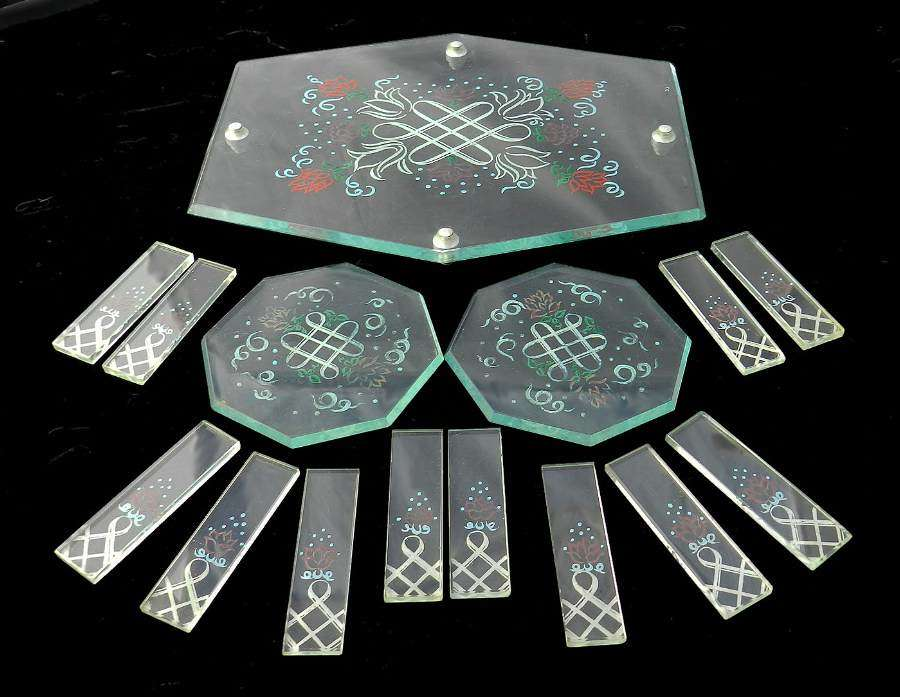 Art Deco Cake Stand Coasters + 12 Knife Rests original painted glass