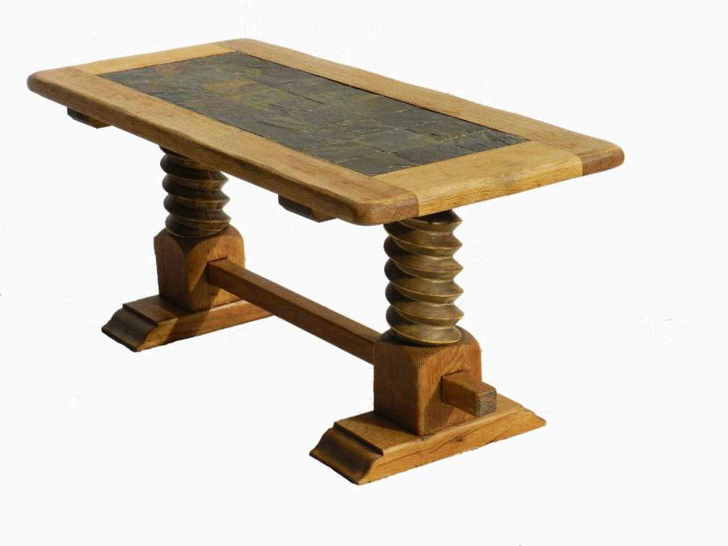 French Refectory Coffee Table Stone Tiles & Wine Press Base Bleached Oak